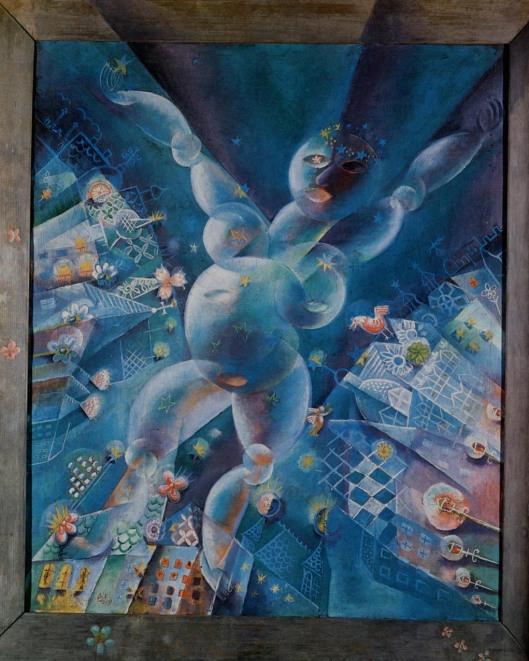 femme lunaire- cadre peint- huile sur toile- 120x100-5cm